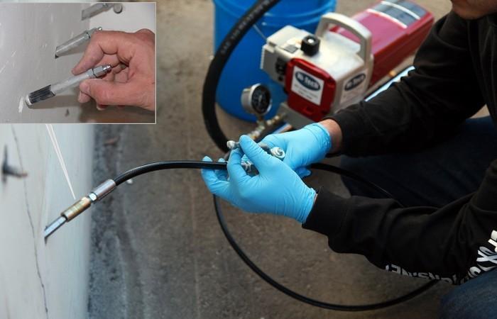 Инъекционные насосы и шпуры для гидроизоляции швов и трещин в Москве